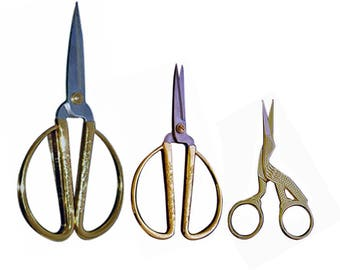 "7.5"" Zinc Alloy Gold Color Handle Deluxe Chinese Scissors, 5"" Zinc Alloy Gold Color Handle Deluxe Chinese Scissors & 3.5"" Stork Scissors"