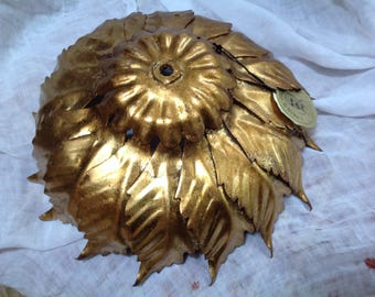 Metal mid century gold painted toleware lamp shade made in Italy retro leaf form