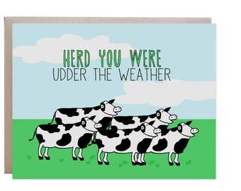 Get Well Card, Cow Card, Pun, Punny Card, Feel Better, Feel Better Soon