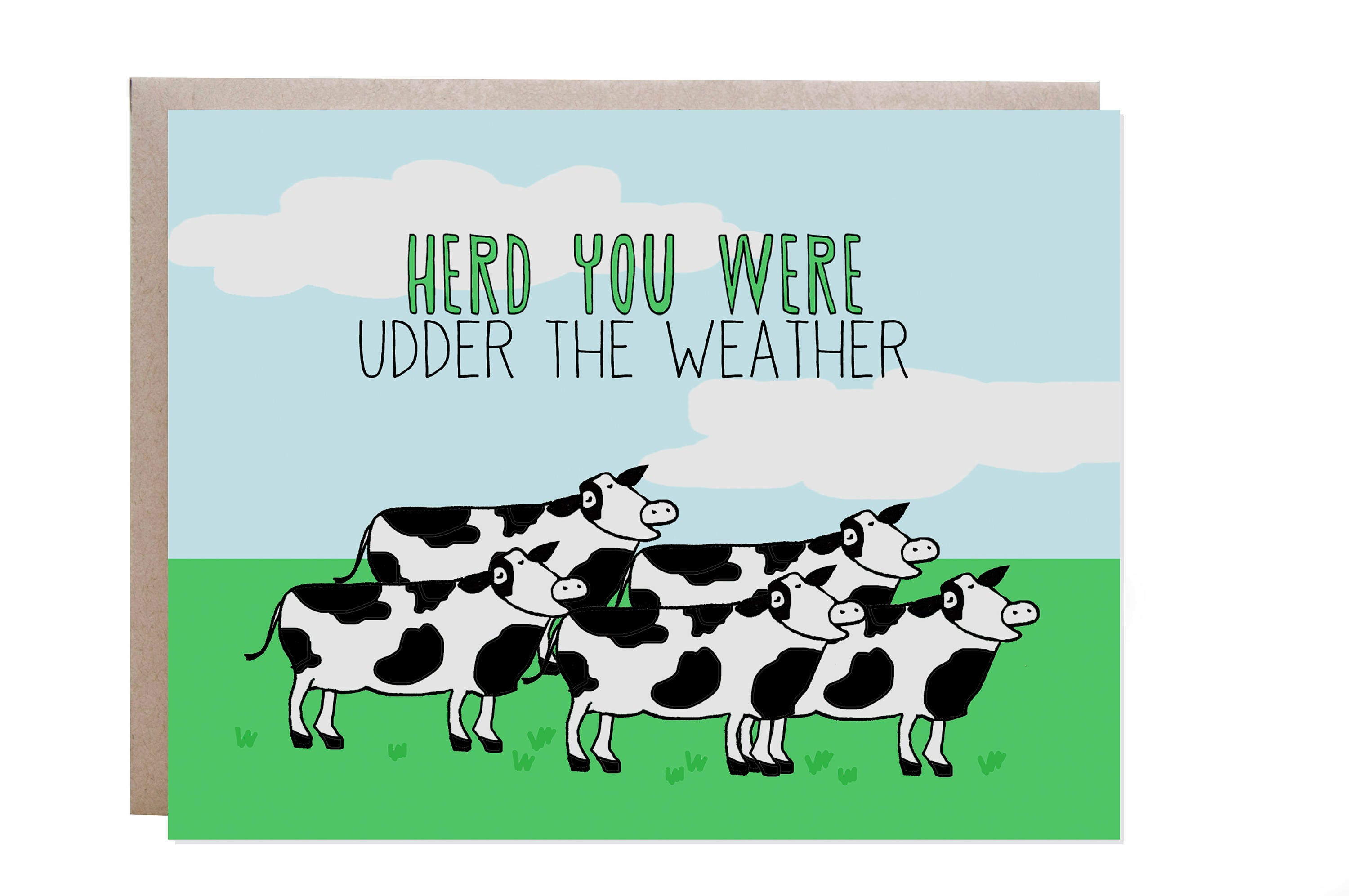 get well card cow card pun punny card feel better feel better