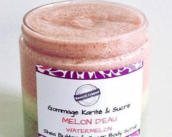 ON SALE Body Scrub with Shea Butter and Sugar - Scented with Watermelon fragrance - 250g