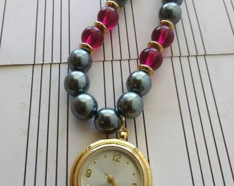 Beaded Necklace with Watch.