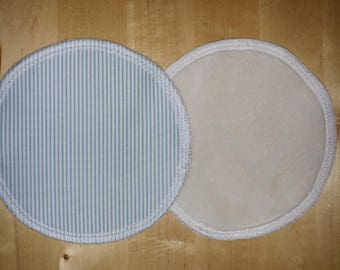 Blue Microstripe - One pair (2 pcs) Leakproof Washable NURSING PADS breast pads