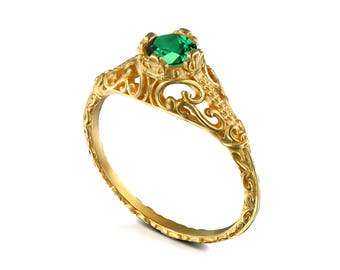Gold Vintage solitaire Emerald Engagement ring, natural Emerald filigree engagement ring, promise ring, May birthstone , 14k 18k All colors