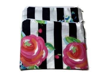 Reusable Snack Bags Set of 2 Zipper Pink Roses Black White Stripes