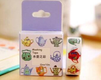 Teapot Washi Tape/Scrapbooking Tape/ Kawaii School Supplies
