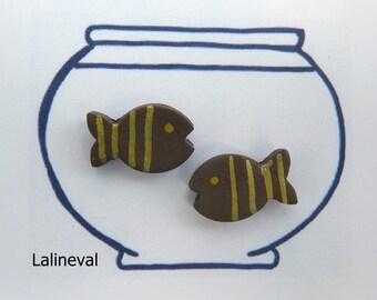 Stud Earrings gold Brown striped ceramic fish mini