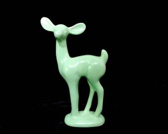 Haeger Deer Figurine, Fawn Statue,Mint Green Deer, Haeger Pottery