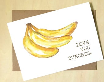 watercolor banana love you bunches greeting card
