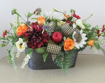 Country Style Floral Centerpiece, Farmhouse Home Decor, Sunflower Floral Arrangement, Rustic Home Decor Arrangement