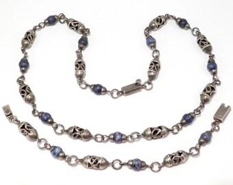 Mexican Silver & Sodalite Ornate Necklace Bracelet Set