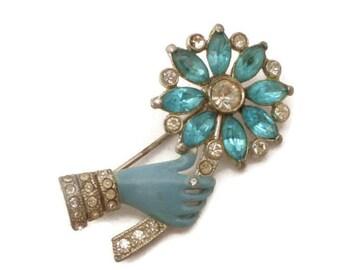 Rare 1930s Era CORO Enamel Hand Holding Rhinestone Flower Brooch
