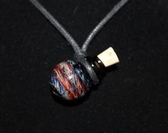 Glass Keepsake Bottle Necklace, Reds/Blues on Black