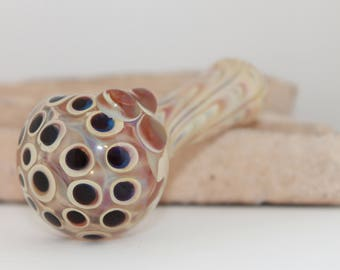 Glass Smoking Pipe, Caramel Fumed (Color Changing) w/Mini Bowl