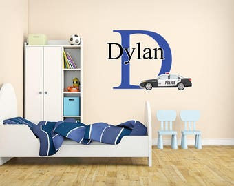 Police Wall Decal Etsy - Custom vinyl wall decals cars