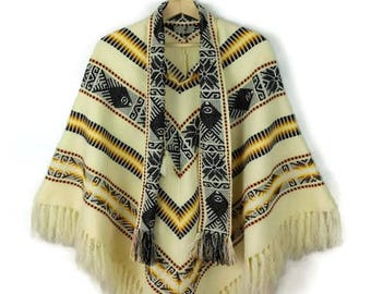 Vintage Cream White/Black/Yellow Stripe Aztec Sweater cape/Fringed poncho from 1970's*