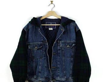 Damaged Denim x Tartan Plaid  Hooded Quilted Denim/Jean Jacket from 90's/Gap*