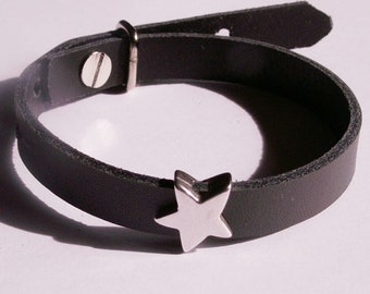 Grey leather bracelet with silver-plated star-slider