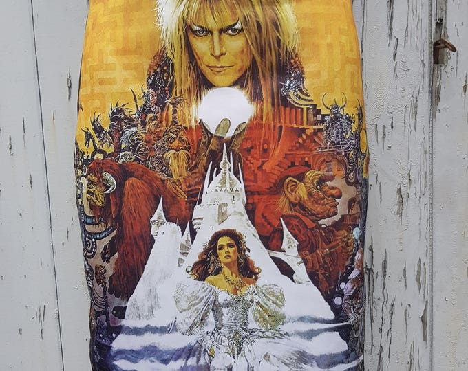 Labyrinth Pencil Skirt - Size 12 14 - Bodycon Movie David Bowie Fantasy Goblin