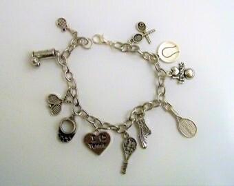 Tennis Charm Bracelet, Tennis Gift for Women, Sports Charm Bracelet, Gift for the Tennis Player, On the Tennis Court, Lets go to Wilmington