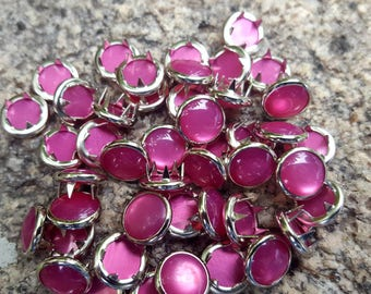 Hot Pink Pearl Snaps, Pearl Snap Fasteners, 11 mm Pearl Snaps