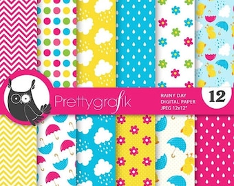 80% OFF SALE April showers paper digital papers, commercial use, scrapbook papers, background - PS707
