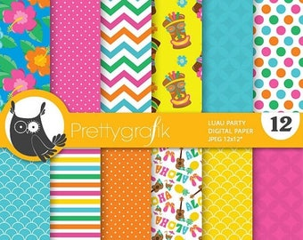 80% OFF SALE Luau party digital papers, commercial use, scrapbook papers, background - PS688