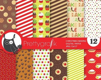 80% OFF SALE 80 Percent 0FF Sale Christmas baking digital paper,  papers commercial use, bake sale scrapbook papers, scrapbooking papers - P