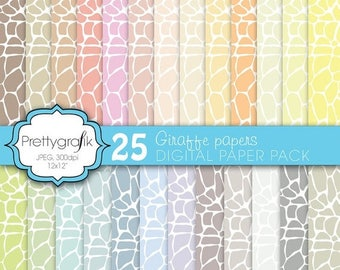 80% OFF SALE giraffe digital paper, commercial use, scrapbook papers, background - PS592