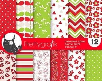 80% OFF SALE 80 Percent 0FF Sale Christmas digital paper, Floral christmas papers commercial use, Christmas floral scrapbook papers, scrapbo
