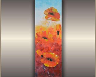 Original oil painting poppies knife flower painting