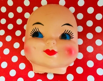 Vintage Celluloid Plastic Doll Face Craft Head Doll Crafting Creepy Kitsch
