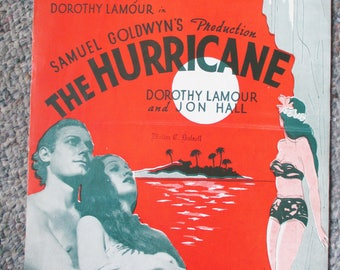 """1937 Sheet music """"Hurricane"""" """"""""The Moon of Manakoora""""""""- One of many show tunes! Dorothy Lamour and Jon Hall -  Has a touch of Hawaii"""