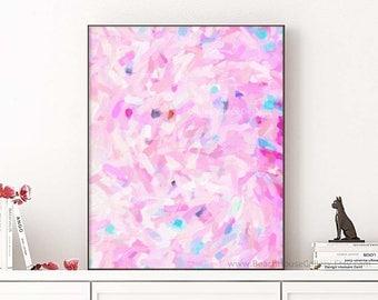 Pink Abstract Art, Modern Pink Bedroom Art, Pink Wall Art, Glam Home Office Wall Art, Pink NurseryArt, Abstract Painting Print,