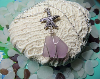 Sea Glass Necklace - Starfish Necklace -  Beach Glass Necklace - Seaglass Jewelry - Sea Glass Jewellery  - Lavender Sea Glass Necklace