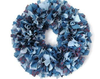 Fabric Wreath, Blue, White Gingham, Calico, Chambray, Country Decor, One of a Kind