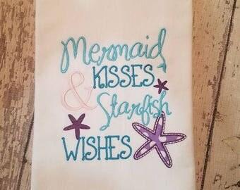 Kitchen Tea Towel - Mermaid Kisses & Starfish Wishes