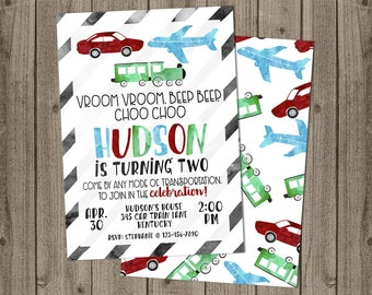 Transportation Party Invitation, Planes, Trains and Automobiles Invitation - 5x7 JPG DIGITAL FILE (Front and Back Design)