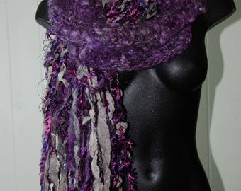 Purple Crochet Scarf * OOAK* Gift for Her * Soft to Skin Wool and Silk * Super Long for  Many Wraps * Hand Spun Yarn Silk Fringe