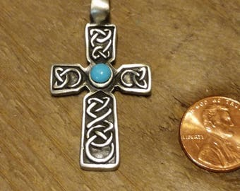 Vintage Antique Silver and Turquoise Rustic Cross Pendant