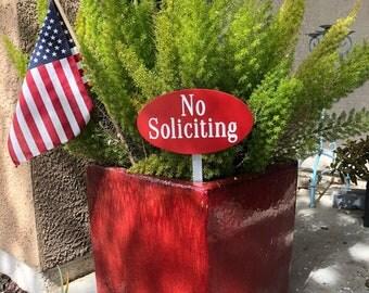 No Soliciting Garden Sign