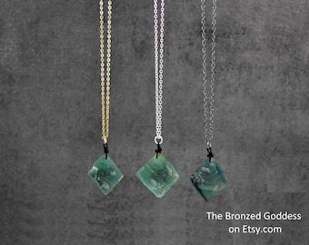 Fluorite Aura Cleansing Fluorite Crystal  Crystal Necklace  Fluorite Necklace  Pyramid Pyramid Crystal  Fluorite Crystal