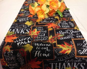 Handmade Tablerunner Fall/Halloween/Thanksgiving , 13W x 36L in Thanksgiving Theme, Ready to Ship