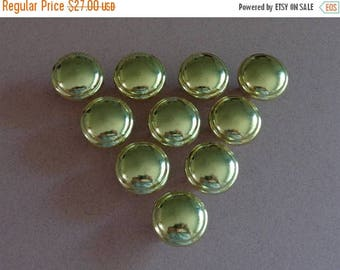 10 Round Cabinet Knobs Glossy Brass finish Dresser Drawer Hardware plain knobs come with screws