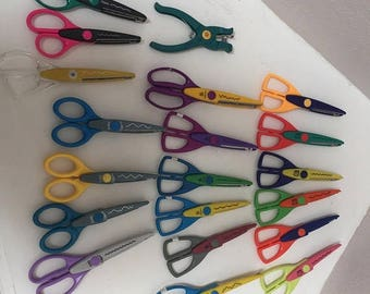 CHRISTMAS in JULY SALE Lightly Used Craft Scissors- Large Lot- Set of 19 scissors, 1 star hole punch Scrapbooking, craft supplies, Provo Cra