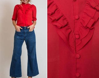 Sale Vintage Sheer BLOUSE Red COUNTRY WESTERN Vintage Ruffled Top
