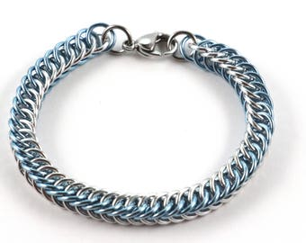 Persian Chainmaille Bracelet   Hand Crafted Chainmaille Jewelry   Handmade Bracelet   Light Blue and Silver   Anodized Aluminum