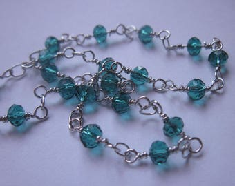 0.20 m chain silver metal trimmed glass (U6) beads