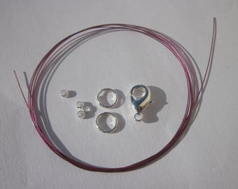 1 meter of cable wire-wrapped, ring, clasp, crimps (K24