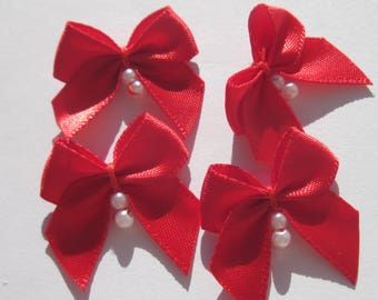 4 fabric bow Satin with beads 23-24 mm approximately (A148)